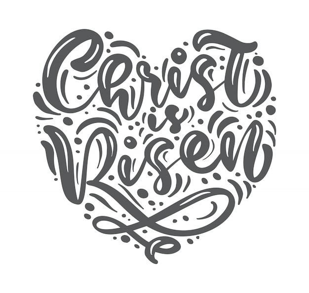 Hand getekend happy easter moderne borstel kalligrafie belettering tekst christus is opgestaan
