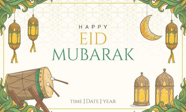 Hand getekend happy eid mubarak met islamitische versiering.