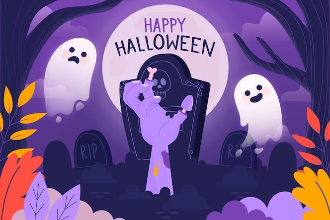 Hand getekend happy halloween achtergrond met spoken