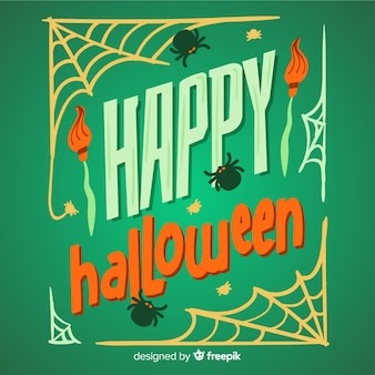 Hand getekend happy halloween belettering achtergrond