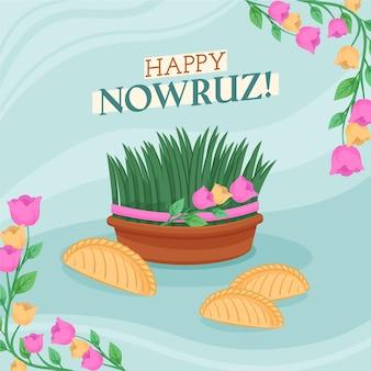 Hand getekend happy nowruz-evenement