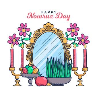 Hand getekend happy nowruz evenement