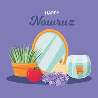 Hand getekend happy nowruz feest
