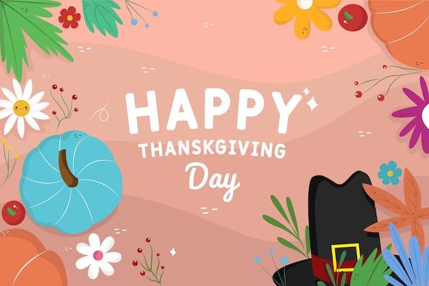 Hand getekend happy thanksgiving achtergrond