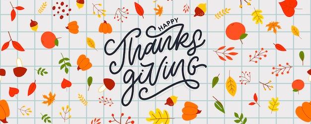 Hand getekend happy thanksgiving belettering typografie poster viering offerte voor kaart ansichtkaart ev...
