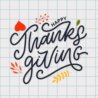 Hand getekend happy thanksgiving belettering typografie poster. viering offerte voor kaart, briefkaart, evenement pictogram logo of badge. vector vintage herfst kalligrafie. grijze letters met rode esdoornbladeren