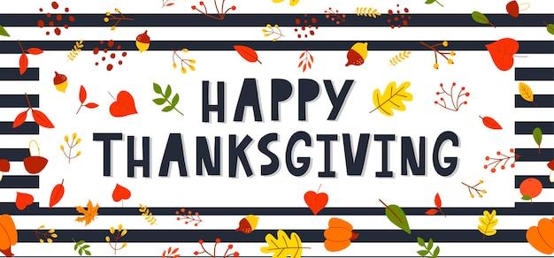 Hand getekend happy thanksgiving belettering typografie poster viering offerte voor kaart briefkaart
