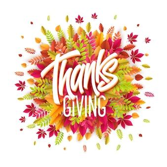 Hand getekend happy thanksgiving day achtergrond. bedanken. vectorillustratie eps10