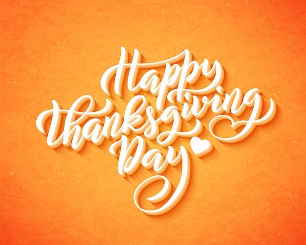 Hand getekend happy thanksgiving day belettering