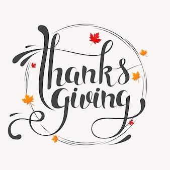 Hand getekend happy thanksgiving typografie belettering