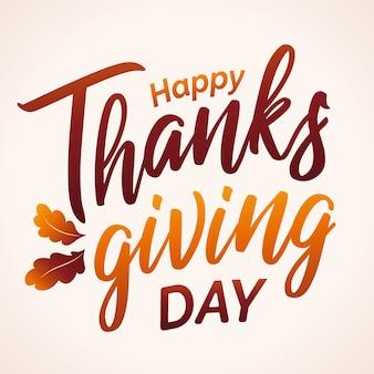 Hand getekend happy thanksgiving typografie in herfstkleuren