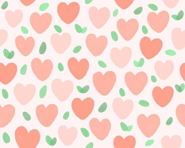 Hand getekend hart en blad patroon achtergrond.