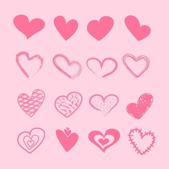 Hand getekend hart ontwerpset