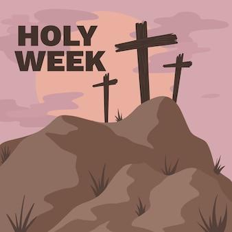 Hand getekend heilige week concept
