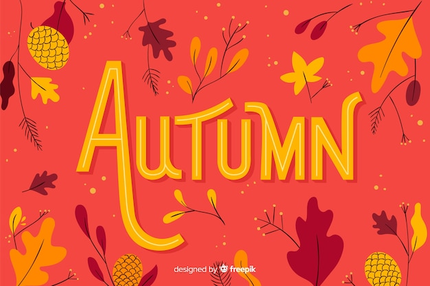Hand getekend herfst achtergrond met bladeren