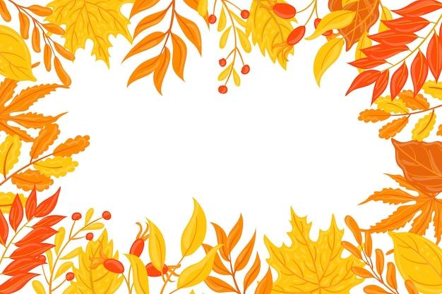 Hand getekend herfst behang met witte ruimte