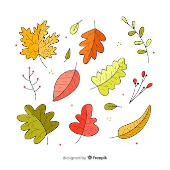 Hand getekend herfst bos bladeren collectie
