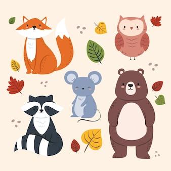 Hand getekend herfst bos dieren