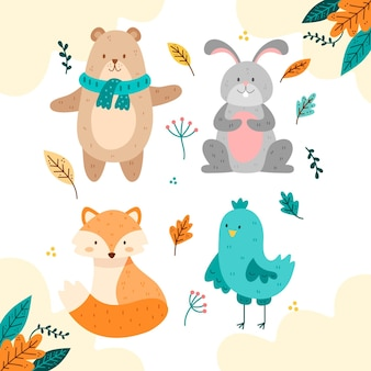 Hand getekend herfst fost dieren collectie