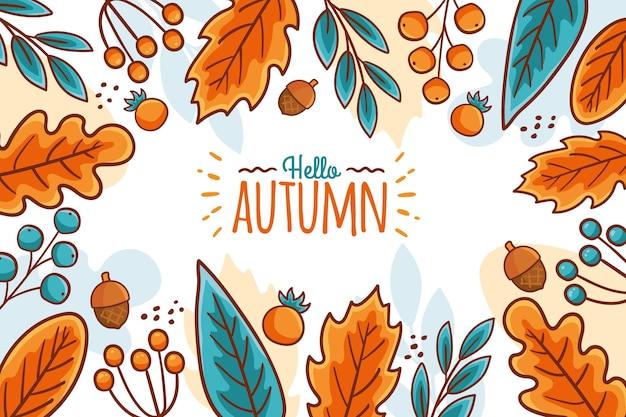 Hand getekend herfst gebladerte achtergrond