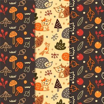 Hand getekend herfst patroon collectie