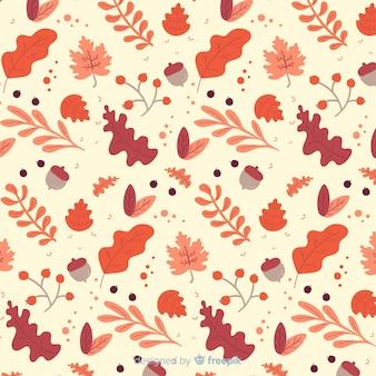Hand getekend herfst patroon met bladeren