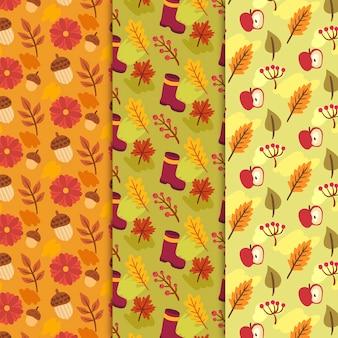 Hand getekend herfst patroon met gouden bladeren