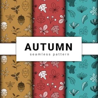 Hand getekend herfst patroon thema collectie.