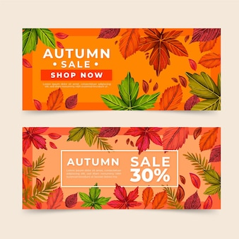 Hand getekend herfst verkoop aankondiging banners