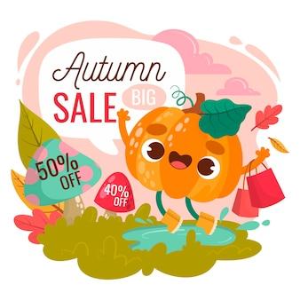 Hand getekend herfst verkoop banner