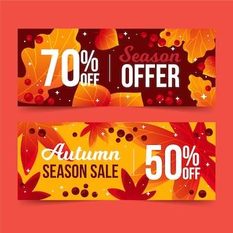 Hand getekend herfst verkoop banners pack