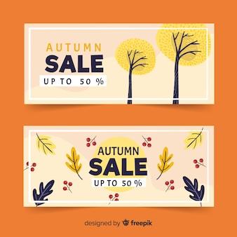Hand getekend herfst verkoop banners sjabloon