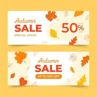 Hand getekend herfst verkoop banners