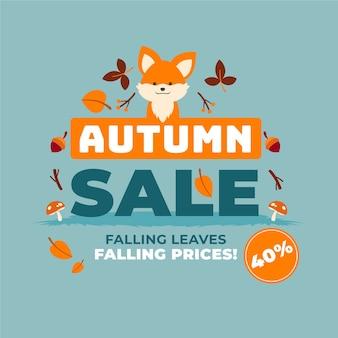 Hand getekend herfst verkoop met vos