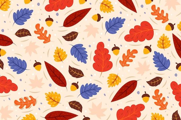 Hand getekend herfstbladeren achtergrond