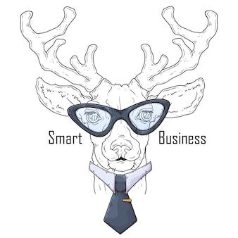 Hand getekend hert met stropdas
