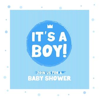 Hand getekend het is een jongen blauw citaat op witte achtergrond. babyshowerkaart met belettering, kroon, sterren en hart. aankondigingskaart voor babyjongen