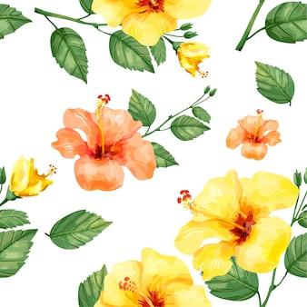 Hand getekend hibiscus bloemen print