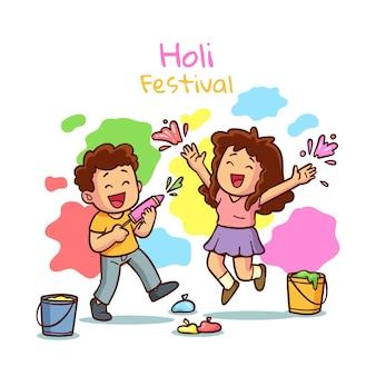Hand getekend holi festival illustratie