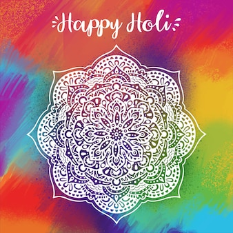 Hand getekend holi festival mooi design en kleurrijke achtergrond