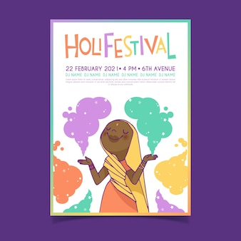 Hand getekend holi festival poster sjabloon