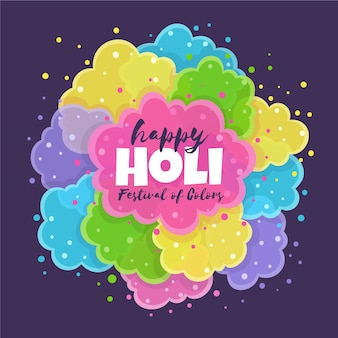 Hand getekend holi festival vlekken van kleuren