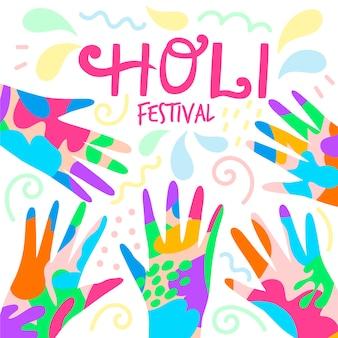 Hand getekend holi festival