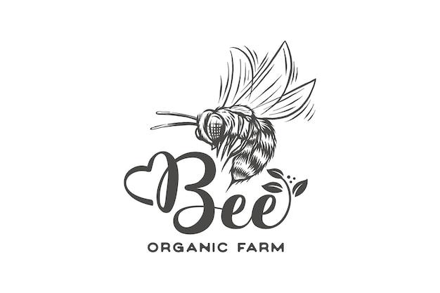Hand getekend honingbij landbouw logo met bladeren