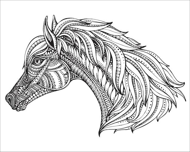 Hand getekend hoofd van paard in sierlijke afbeeldingsstijl