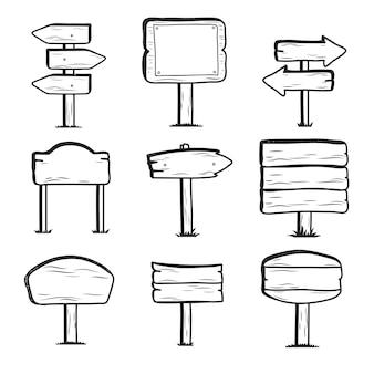 Hand getekend houten straatnaamborden, doodle teken post pictogrammen