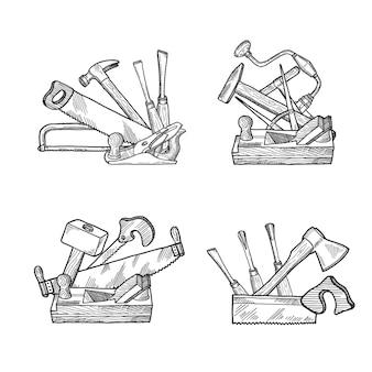 Hand getekend houtwerk gereedschapset