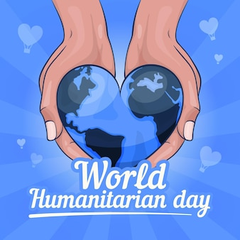 Hand getekend humanitaire werelddag