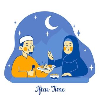 Hand getekend iftar illustratie met mensen die een maaltijd hebben