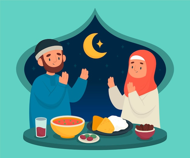 Hand getekend iftar illustratie met mensen